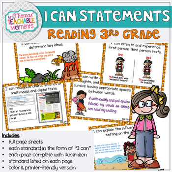 I Can Statements 3rd Grade TEKS Reading
