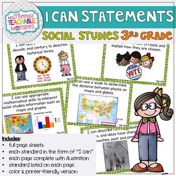 I Can Statements 3rd Grade TEKS Social Studies