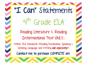 I Can Statements: 4th Grade ELA (Reading Literature, Reading Informational Text)