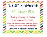 I Can Statements: 4th Grade ELA (Reading Literature, Readi