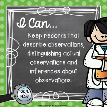 I Can Statements - 4th Grade SCIENCE - Florida - Chalkboard & Polka Dot