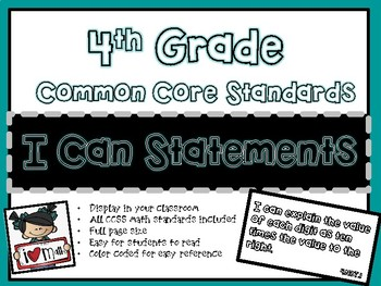 I Can Statements 4th Grade Common Core Math