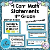 I Can Statements 4th Grade Math Standards Poster Set in Student Language