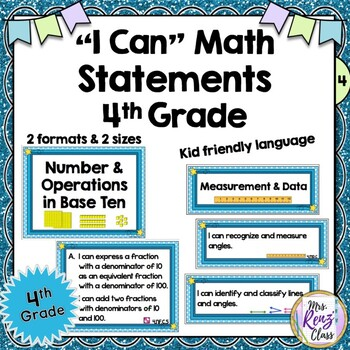"""I Can Statements"" 4th Grade Math Statement Poster Set"