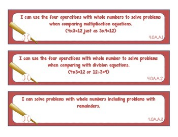 I Can Statements- 4th Grade Math Common Core Standards- Sports Theme