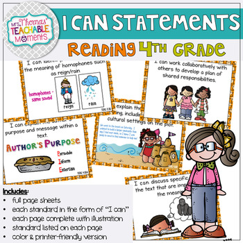 I Can Statements 4th Grade TEKS READING
