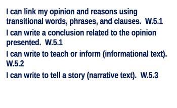 I Can Statements (5th Grade - Common Core)
