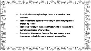 """Fifth Grade Writing """"I Can"""" Statements"""