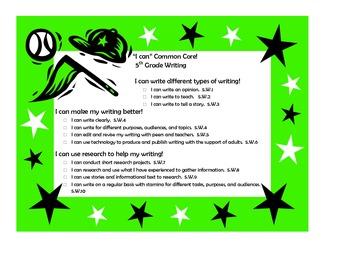 "5th grade Common Core Language Arts ""I Can"" Statements-Sports Theme"