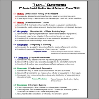 I Can Statements- 6th grade World Cultures- TEKS or Texas Standards