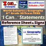 New 2019 TEKS for 6th Grade Social Studies - I can... Reference Sheet & Posters