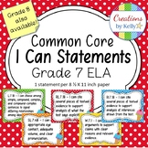 I Can Statements, 7th Grade ELA (Common Core), Polka Dots and Ice Cream Cones