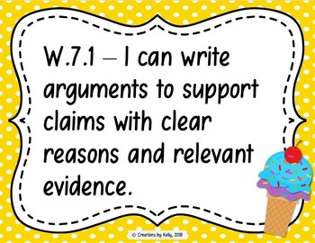I Can Statements, 7th Grade ELA (Common Core), Polka Dots and Ice Cream Cones