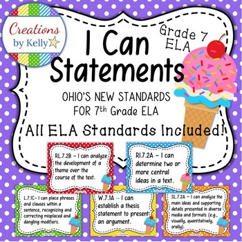 I Can Statements (Classroom Signs), 7th Grade ELA (OHIO Standards)