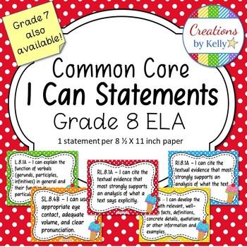 I Can Statements, 8th Grade ELA (Common Core), Polka Dots and Ice Cream Cones