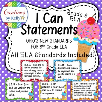 I Can Statements, 8th Grade ELA (OHIO Standards), Polka Dots and Ice Cream Cones
