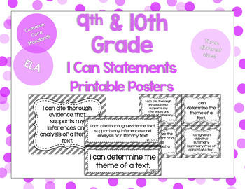 9th and 10th Grade ELA I Can Statements for CCSS Standards