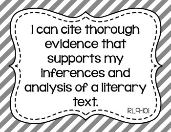 9th and 10th Grade ELA I Can Statements for CCSS Standards (Gray Stripes)