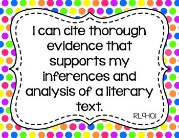 9th and 10th Grade ELA I Can Statements for CCSS Standards (Rainbow Polka Dots)