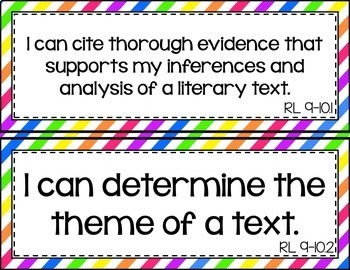 9th and 10th Grade ELA I Can Statements for CCSS Standards (Rainbow Stripes)