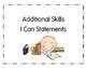 I Can Statements Additional Skills