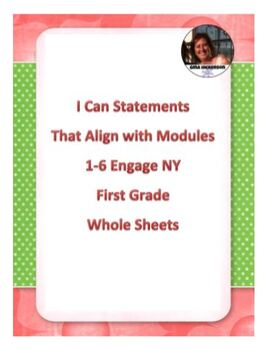 """""""I Can"""" Statements Aligned with EngageNY Math First Grade Whole Sheet"""
