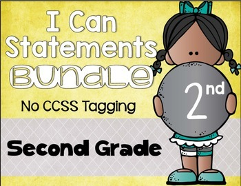 I Can Statements Bundle 2nd Grade NO CCSS Tagging