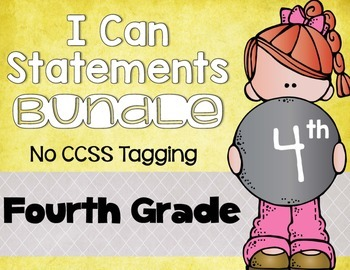 I Can Statements Bundle 4th Grade NO CCSS Tagging