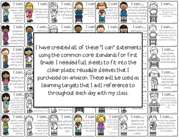 I Can Statements Bundle for ELA and Math