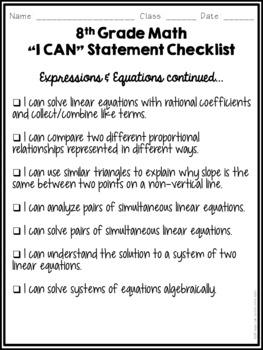 I Can Statements Student Checklist- 8th Grade Math Common Core!