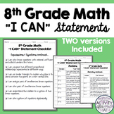 I Can Statements Student Checklist 8th Grade Math Common Core