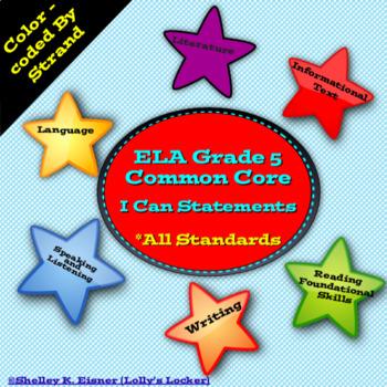 I Can Statements Common Core ELA Grade 5