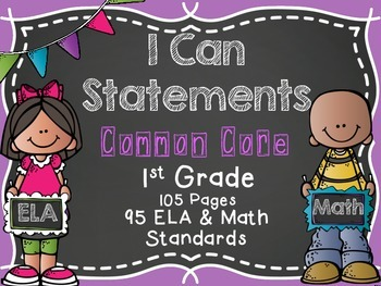 First Grade Common Core I CAN Statements {ELA & MATH} Melonheadz Edition