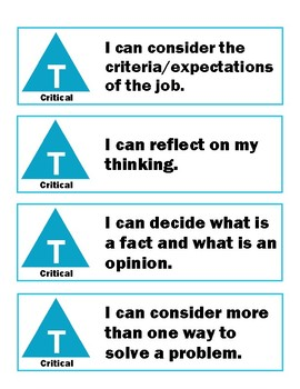 I Can Statements - Critical/Creative Thinking