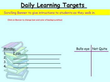 """I Can"" Statements (Daily Learning Targets) for SmartBoard"