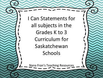 I Can Statements Documents for Kindergarten to Grade 3