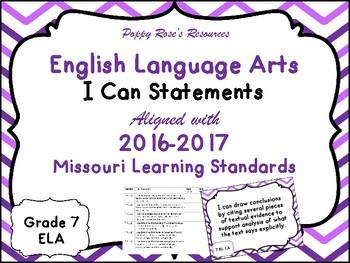 I Can Statements ELA Grade 7 Missouri Learning Standards