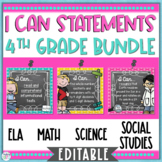I Can Statements 4th Grade Bundle Editable
