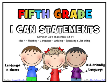 I Can Statements FIFTH GRADE Common Core