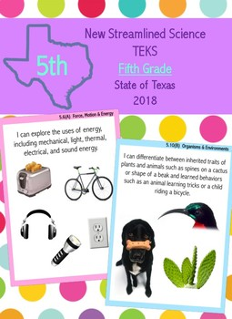 Fifth Grade New Science Streamlined TEKS- I Can Statements