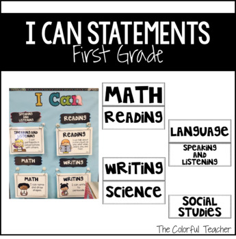 I Can Statements for First Grade: Editable