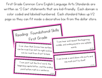 First Grade Common Core Math I Can Statements