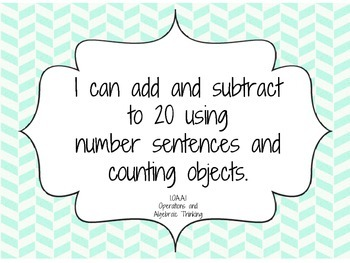 I Can Statements - First Grade Math Common Core State Standards