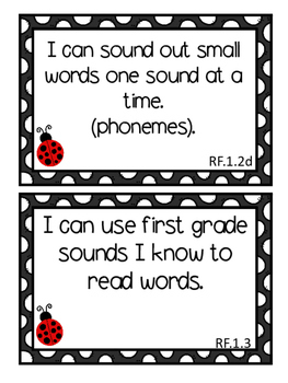 I Can Statements For First Grade- Black and Red Ladybug Theme