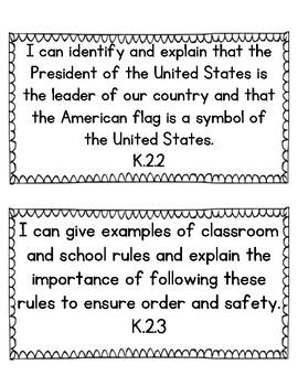 I Can Statements For Kindergarten Social Studies Indiana State Standards