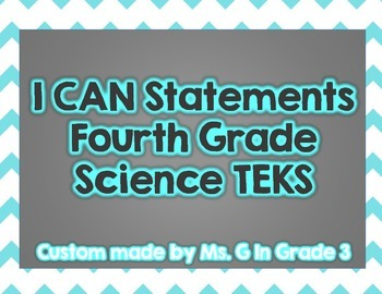 I Can Statements-Fourth Grade Science TEKS ALL Colors