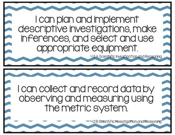I Can Statements-Fourth Grade Science TEKS  Dark Blue