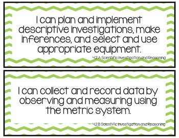 I Can Statements-Fourth Grade Science TEKS Green