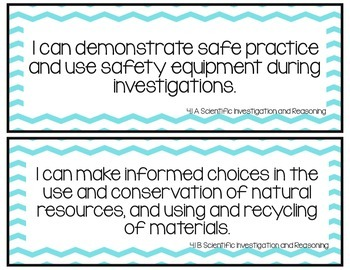 I Can Statements-Fourth Grade Science TEKS Neon Blue