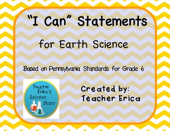 I Can Statements Gr 6 Earth Science